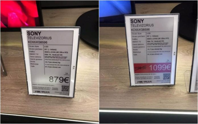 Pirkėjo užfiksuotas SONY televizoriaus kainų skirtumas prieš ir po akciją privertė